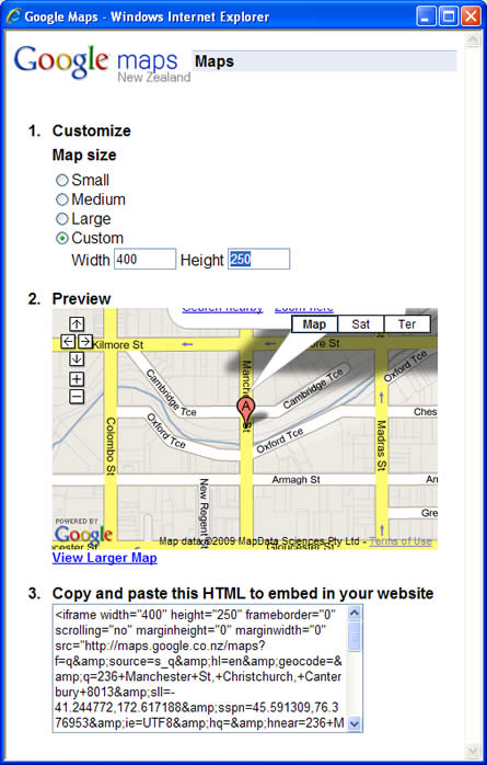 map customise popup